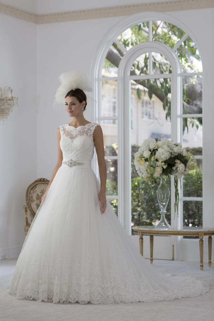 VE8219 - Illusion Sweetheart Neck Wedding Dress with Keyhole Back & Lush Satin A Line Skirt