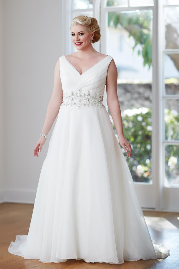 VW8704 - Plus Size V Neck A Line Wedding Dress with Wide Beaded Waist & Lace Up Back