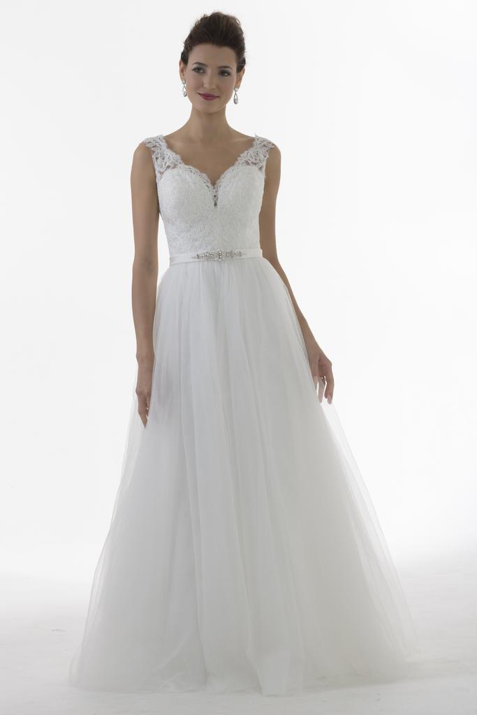 VN6899 - Venus Ivory Wedding Dress With Lace Straps Sweetheart Neckline And Tulle Skirt