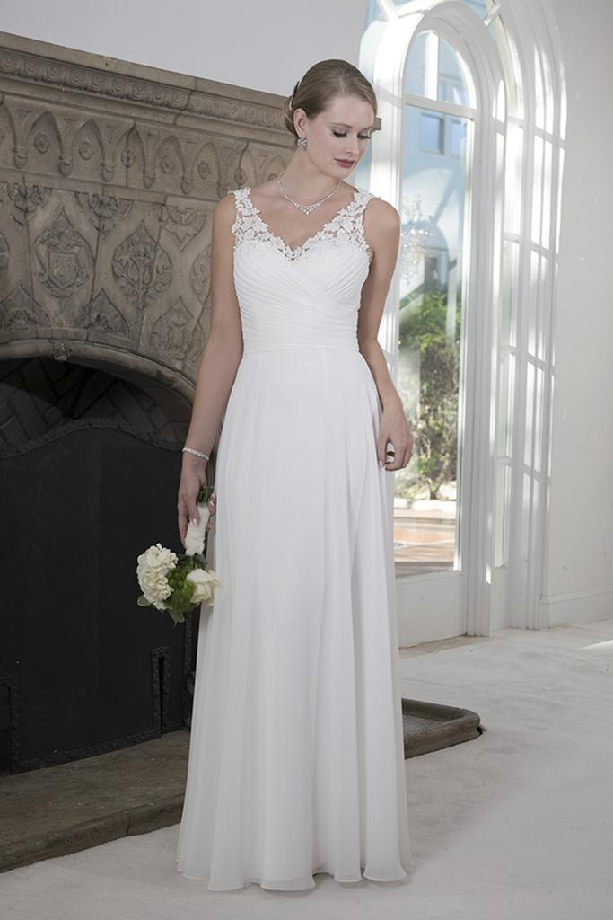 VN6909 - Venus V Neck Chiffon Tank Wedding Dress with Lace Straps