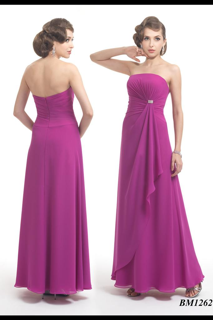 Strapless Chiffon Gown With Asymmetrical Rouched Bodice