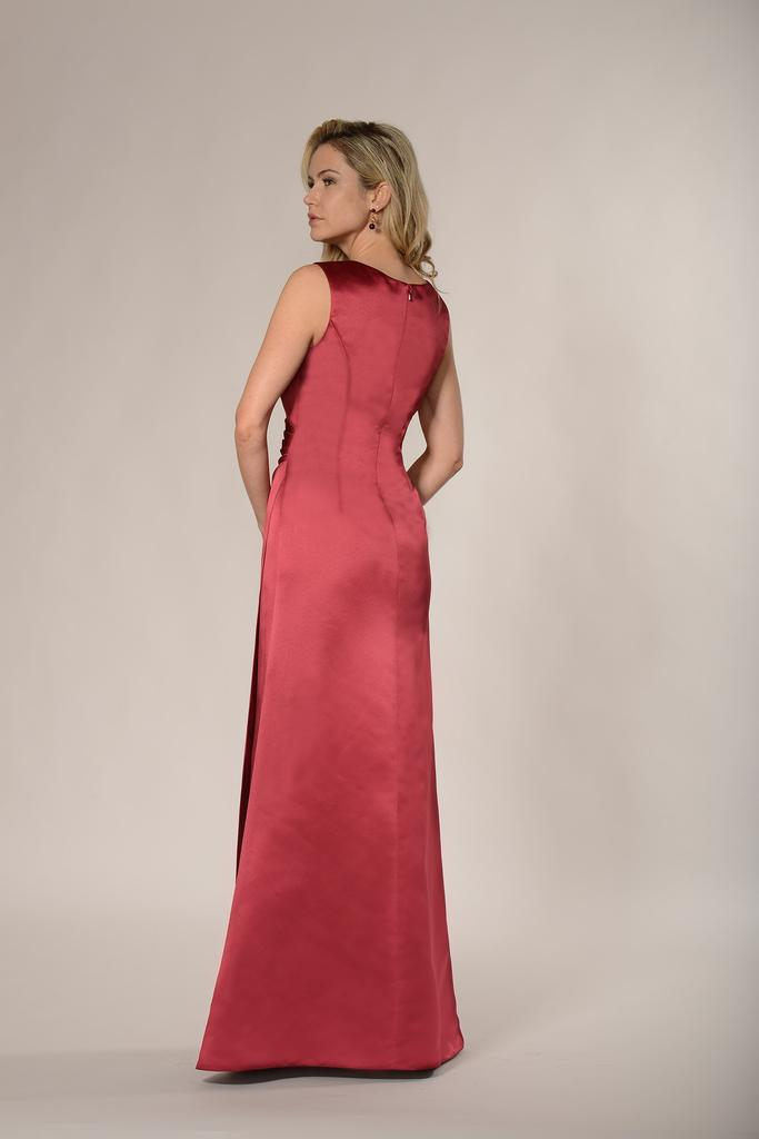 BM2182 - Elegant Wide Strap V Neck A Line Duchess Satin Bridesmaid Dress
