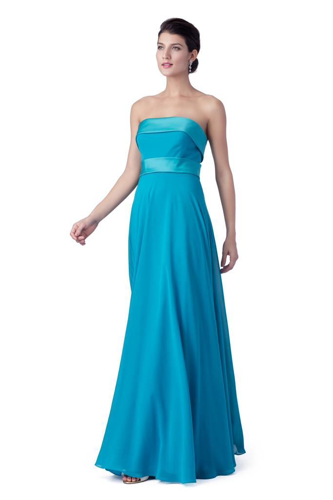 BM2111 - Simple A Line Strapless Band Chiffon Bridesmaid Dress