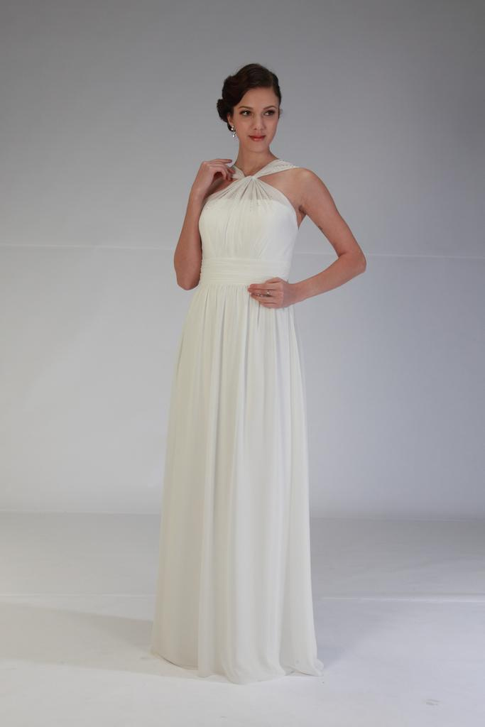 VN6849NT - Floor Length Strapless Chiffon Wedding Dress with Twist Neckline