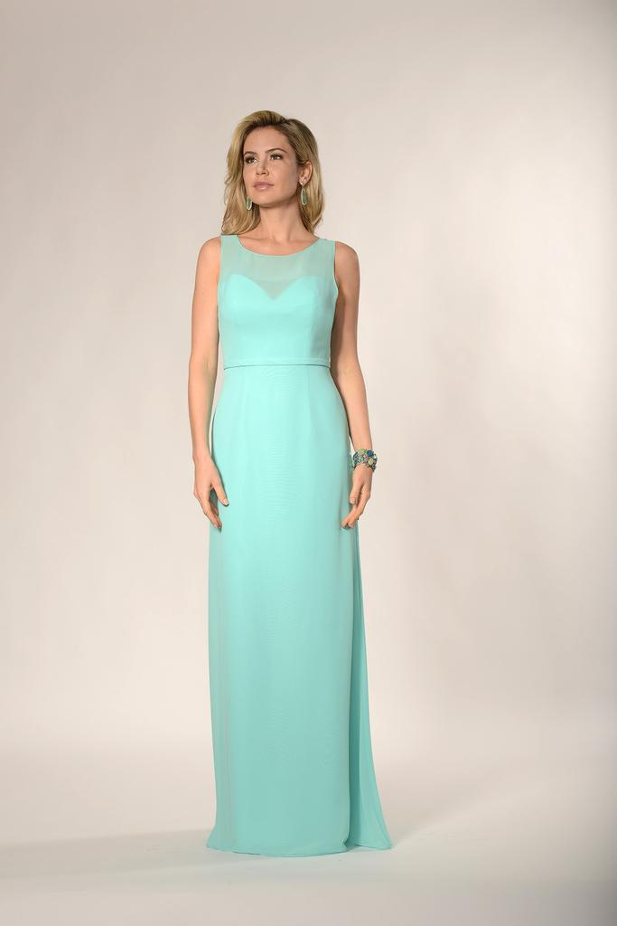 BM2181 - Scoop Illusion Sweetheart Neckline Chiffon Bridesmaid Dress