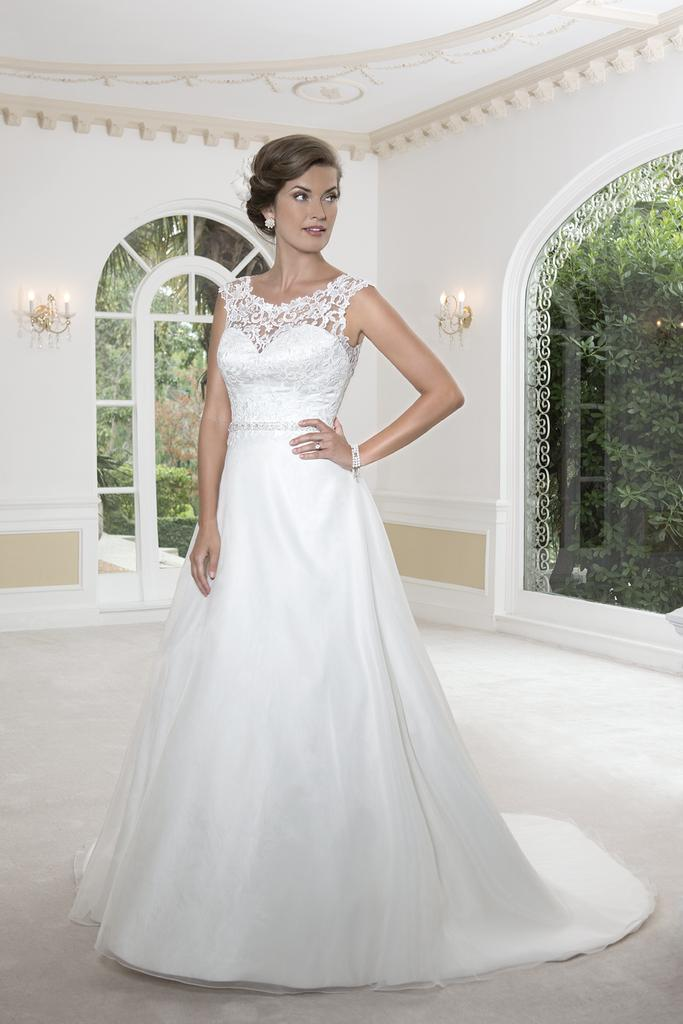 PA9231 - Lace Sabrina Neckline A Line Satin Wedding Dress