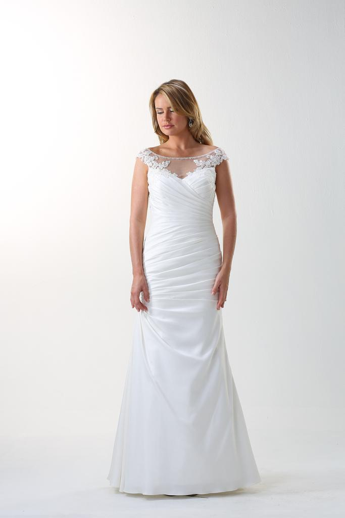 VN6858 - Venus Ivory Vintage Shantung Slight Fit And Flared Wedding Gown with Lace Illusion Neckline.