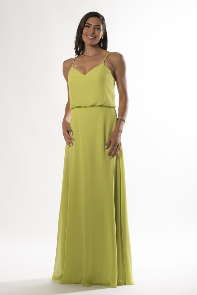 V Neckline Drape Bodice Bridesmaid Dress