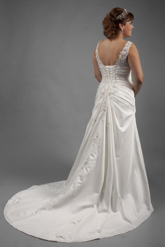 VW8679 - Venus Ivory Plus Size  Wedding Gown with Dropped Waist With Beaded Shoulder Straps and a Flattering  V - Neckline.