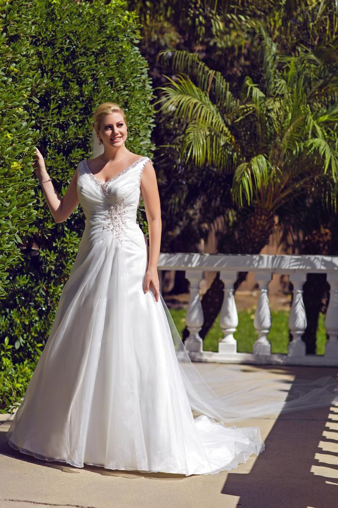 VW8695 - Venus Ivory Plus Size A-Line Wedding Gown With Beaded V-Neckline