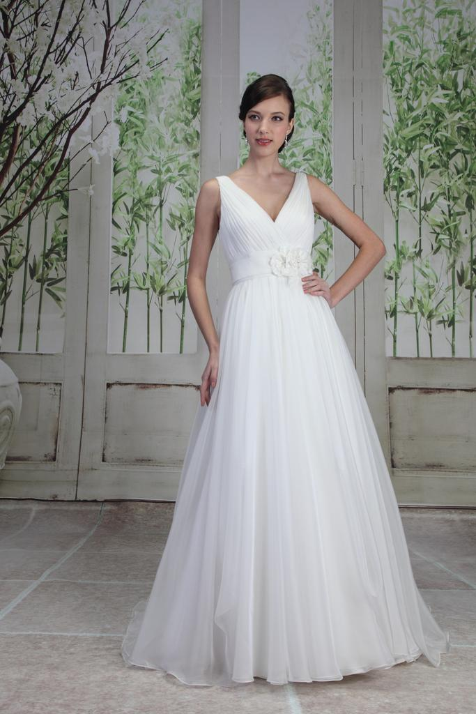 PA9195 - Sleeveless V Neck Wedding Dress with Full Skirt & Sweep Train