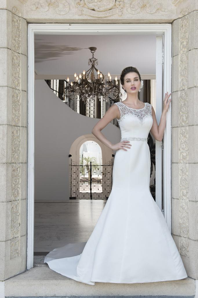 VE8238 - Beaded High Illusion Sweetheart Neckline Wedding Dress with Trumpet Style Skirt & Court Length Train