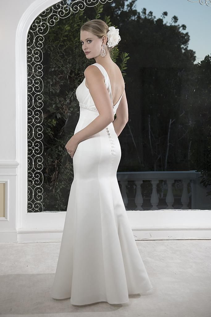 VN6910 - Venus Sleeveless V Neck Fitted Mermaid Lush Satin Wedding Dress