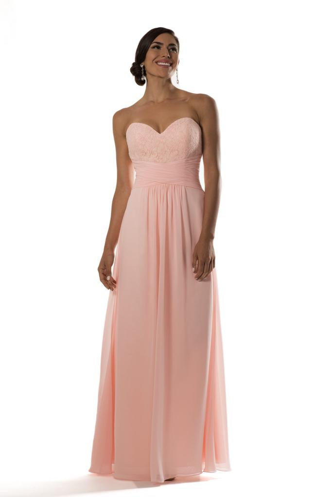 Criss Cross Waist Chiffon Lace Sweetheart Neckline Bridesmaid Dress