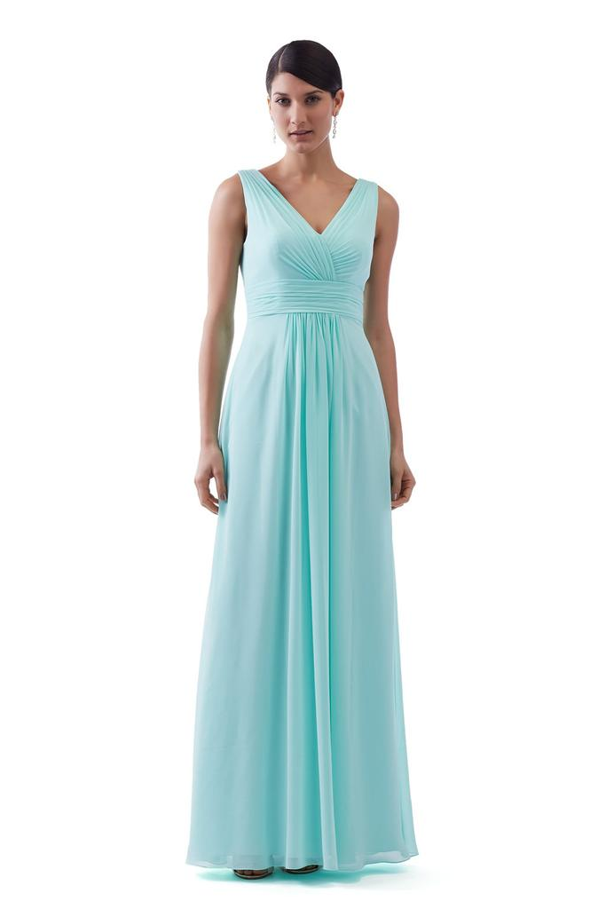 V Neckline Rouched Bodice Bridesmaid Dress