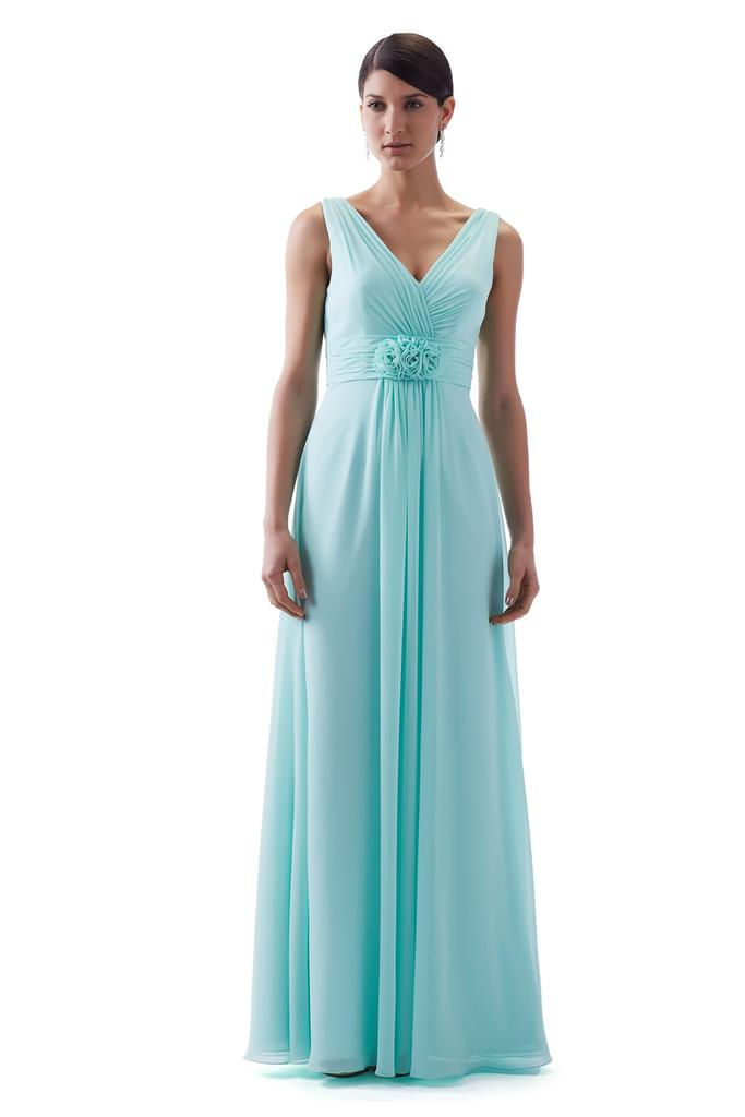 Sleeveless V Neckline with Flower Waist Detail