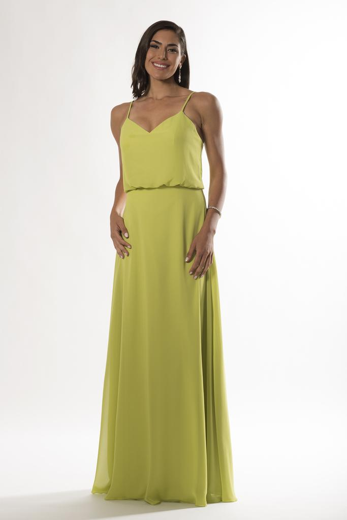 BM2139 - V Neck Chiffon Drape Bodice Bridesmaid Dress with Spaghetti Straps