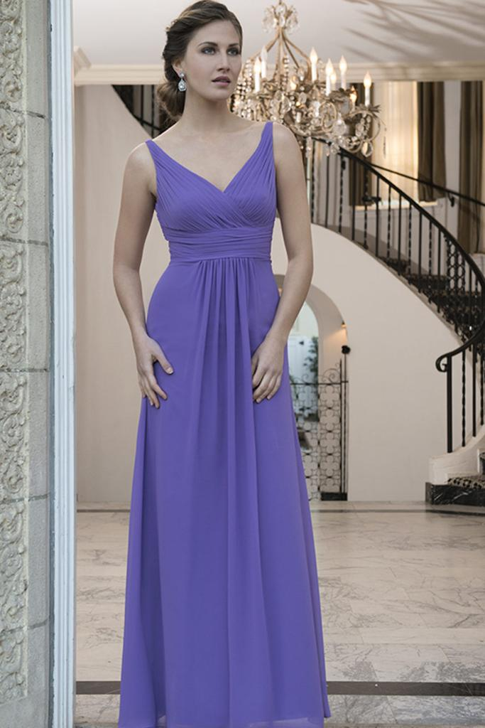 Front Pleat V Neckline Bridesmaid Dress