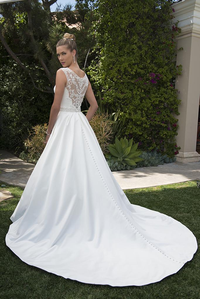 PA9265 - A Line Illusion Neck & Back Wedding Dress with Beaded Waist Trim