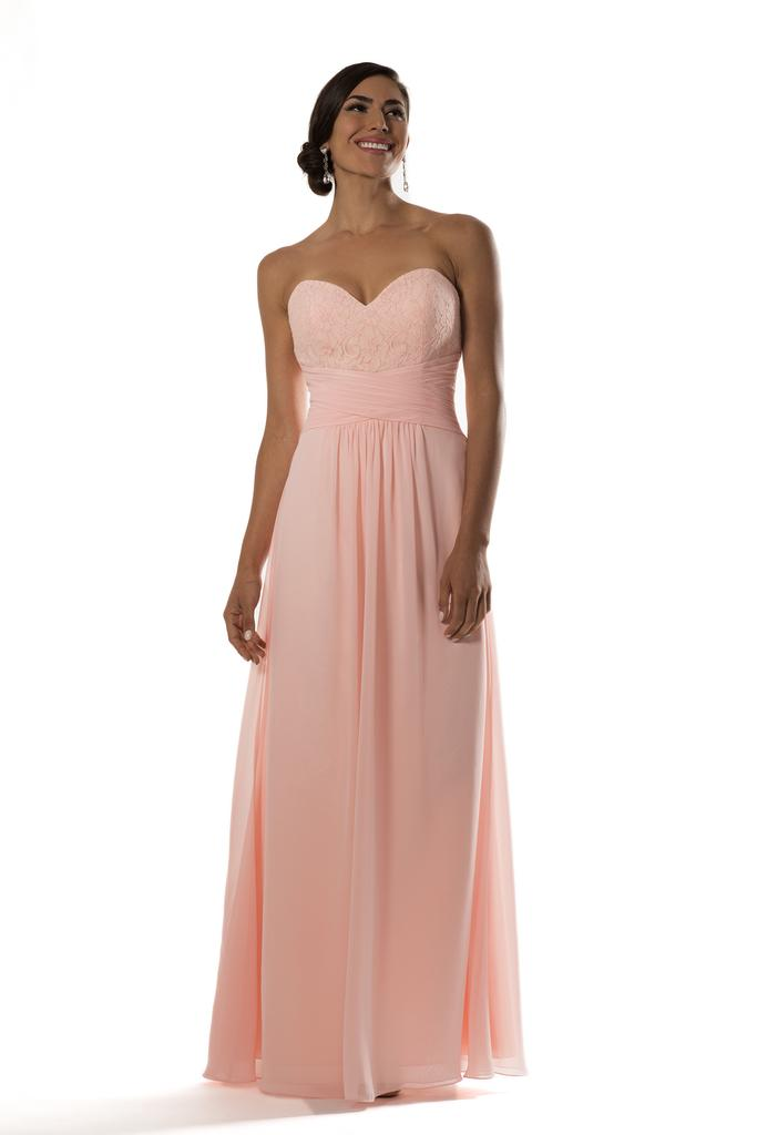BM2130 - Lcae Chiffon Sweetheart Neckline Cross Waist Bridesmaid Dress