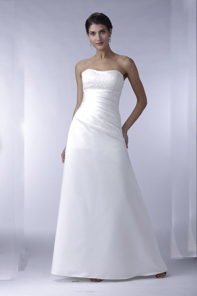 VN6912 - Venus Ivory Lace And Satin Strapless Wedding Dress With Asymmetric Waist