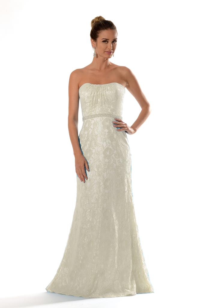 VN6923X - Venus Ivory Vintage Fishtail Wedding Gown with Beaded Detail Under Bust.