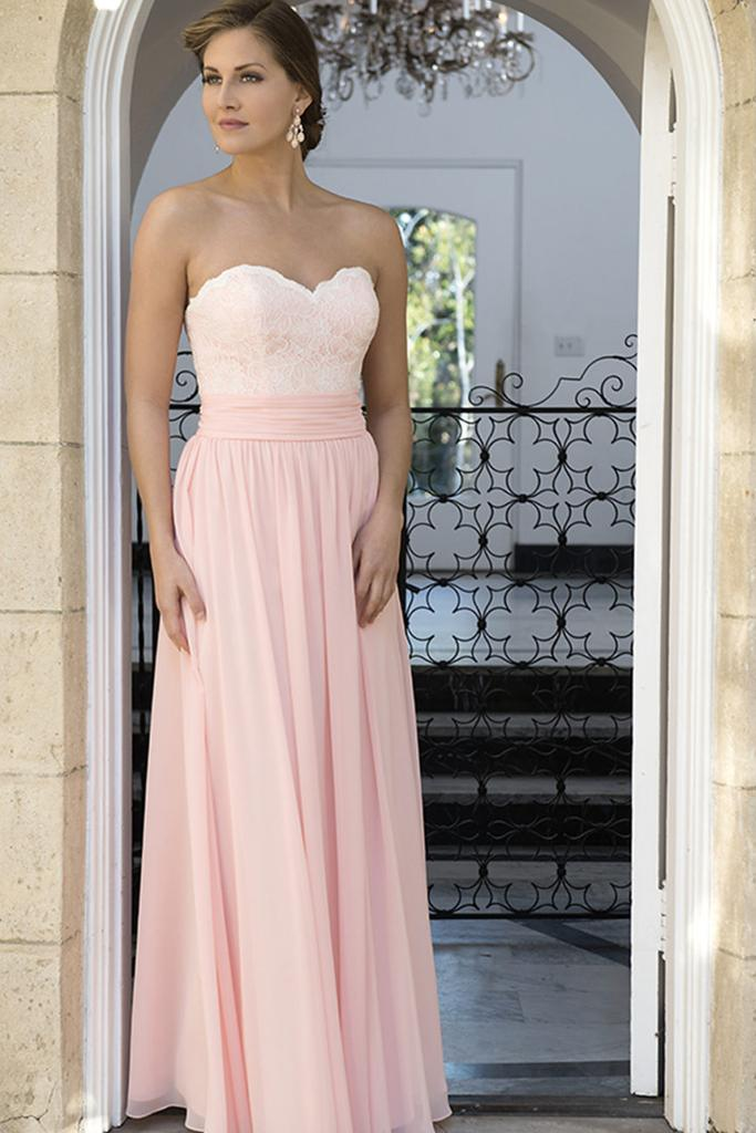 Lace Bodice Sweetheart Neckline Bridesmaid Dress